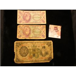 Pair of Series 641 Five Cent Military Payment Certificates & a early 1900 Japanese 10 Yen Bank Note.