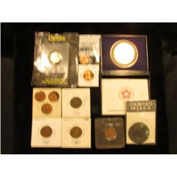 Miniature Lincoln Cent; 2000 P Cheerios Lincoln Cent in holder; 1958 P BU Cent; (3) Mexican Coins; 1