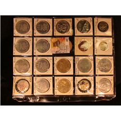 (20) Food or Candy Related Tokens, Medals, & etc. in a plasitc page.