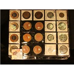 "(20) Food or Candy Related Tokens, Medals, & etc. in a plasitc page. Includes several ""Sambo's"" Wood"