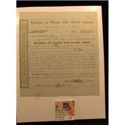 "23 Shares ""Burlington and Missouri River Railroad Company State of Iowa"" Stock Certificate dated 185"