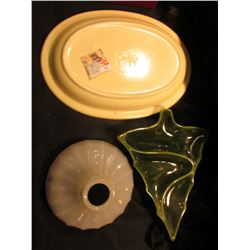 "Large Pfaltzgraff Serving Platter; Milk Glass Globe for a lamp; & an ""Atlantic Mold"" Ceramic Christm"