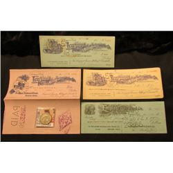 (4) Different Old Ornate Checks with vignette engravings dating in the 1920's; & 1942 D Walking Libe