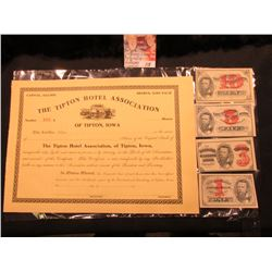 "Unissued Stock Certificate ""The Tipton Hotel Association of Tipton, Iowa"" valued at $100 per share,"