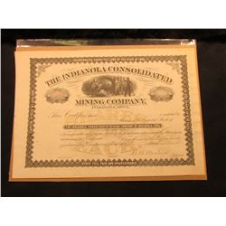 "Signed ""B.B. Boatright"" Stock Certificate ""The Indianola Consolidated Mining Company Indianola, Iowa"