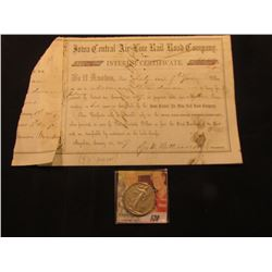 "1857 ""Iowa Central Air Line Rail Road Company Interest Certificate"" signed by Geo. W. Bettesworth"".;"