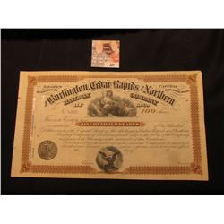 "Unissued Stock Certificate ""The Burlington, Cedar Rapids and Northern Railway Company of Iowa""100 sh"