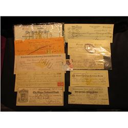 (10) Old Bank Checks dating back to the 1860s, some Revenue Stamps, most cancelled.
