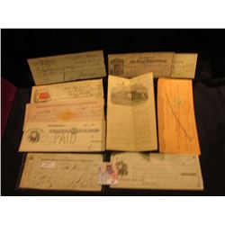 (10) Old Bank Checks dating back to the 1880s, some Revenue Stamps, most cancelled. Includes at leas