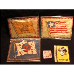 "(3) Felt Flags: ""China"", ""Liberia"", & ""Corea""; ""Pirates…3-Rivers Stadium"" Sticker; & 1942 P Walking"
