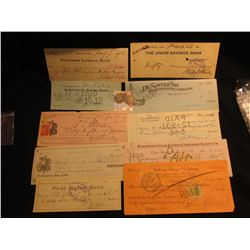 (10) Different Old Bank Checks ating back to 1886; 1912 P & 16 D Barber Quarters, AG.