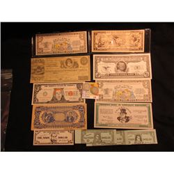 (15) Various Political and Satirical Bank Notes, most CU; & 1915 P & 16 D Barber Quarters, AG-G.