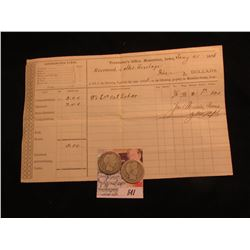 "1876 Tax Receipt for ""Treasurer's Office, Muscatine, Iowa""; & 1914 P & 15 D Barber Quarters, AG-G."