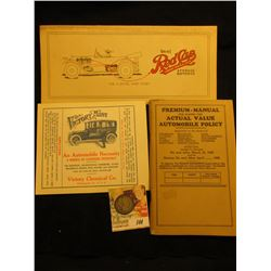 "1929 ""Premium-Manual For Issuing the Actual Value Automobile Policy"" Booklet; ""Wol-Kee Red Cap Stora"
