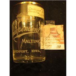 "Etched Crystal Glass with Gold Trim ""Independent Malting Co.Davenport, Iowa"". Rare brewery item."