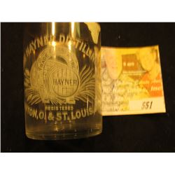 "Etched Crystal Glass with Gold Trim ""The Hayner Distilling Co. Dayton, O. & St. Louis, Mo.""."