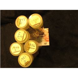 1944S, 46S, 47S, 49D, 51D, & 56P Solid date Rolls of Circulated Lincoln Cents in plastic tubes.