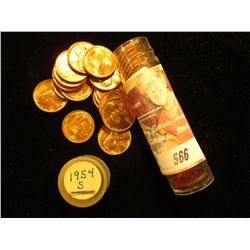 1954 S Gem BU Red Original Roll of Lincoln Cents in a plastic tube.