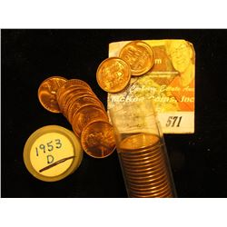 1953 D Gem BU Red Original Roll of Lincoln Cents in a plastic tube.