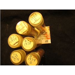 1955D, 60D Small Date, 74P, 74D, 78P, & 78D Solid date Rolls of Gem BU Lincoln Cents in plastic tube
