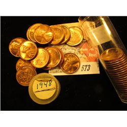 (40) Gem BU Red 1948 P Lincoln Cents in a plastic coin tube.