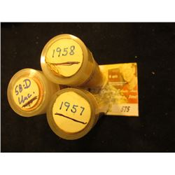 1957 P, 58 P, & 58 D Gem BU Red Original Rolls of Lincoln Cents in a plastic tube. (3 rolls)