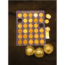 1959-72 Cent Set in Blue holder with gold lettering, missing the 70 D; (3) 1943 Lincoln Cents in pla