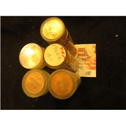 1956D, 59D, 60D, & (2) 74D Solid-date Rolls of Lincoln Cents, BU. (5 rolls)  Approximately 250 pcs.