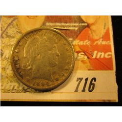 1894 S Barber Quarter VF Rough Surfaces and Slight Bend.