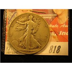 1929 S  Walking Liberty Half Dollar. F.