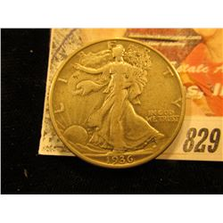 1936 D  Walking Liberty Half Dollar. VF.