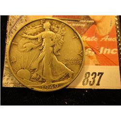 1940 S Walking Liberty Half Dollar. VF.