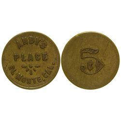 Andy's Place Token El Monte California