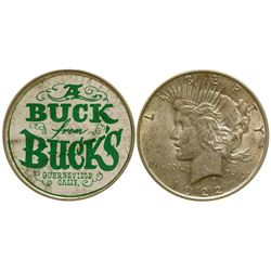 A Buck for Buck's  Silver Dollar Ticker Token Guerneville California