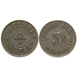Spreckles Hotel 5c Token Spreckles California