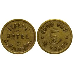 Italia Hotel Wine Resort Token St. Helena California
