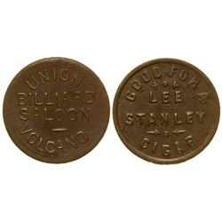 Union Billiard Saloon Token Volcano California