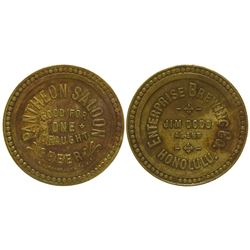 Pantheon Saloon Token Honolulu Hawaii