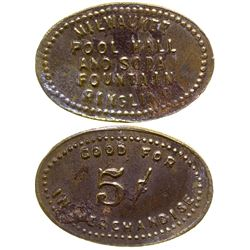 Milwaukee Pool Hall & Soda Fountain Token Ringling Montana
