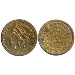 New England Hotel and Dining Saloon Token New York City New York