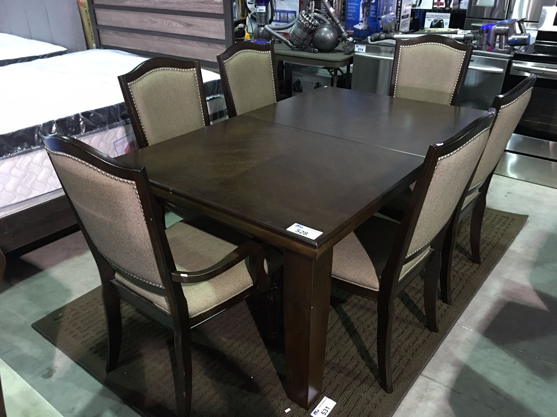 Image 1 DINING TABLE WITH JACKKNIFE LEAF AND 6 CHAIRS DARK BROWN FINISH MINOR