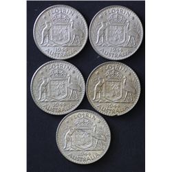 1944 Florins Uncirculated (5 Coins)