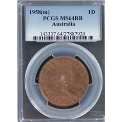1958 M Penny PCGS MS 64 Red Brown
