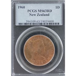 New Zealand Penny 1960 PCGS MS 63 Red