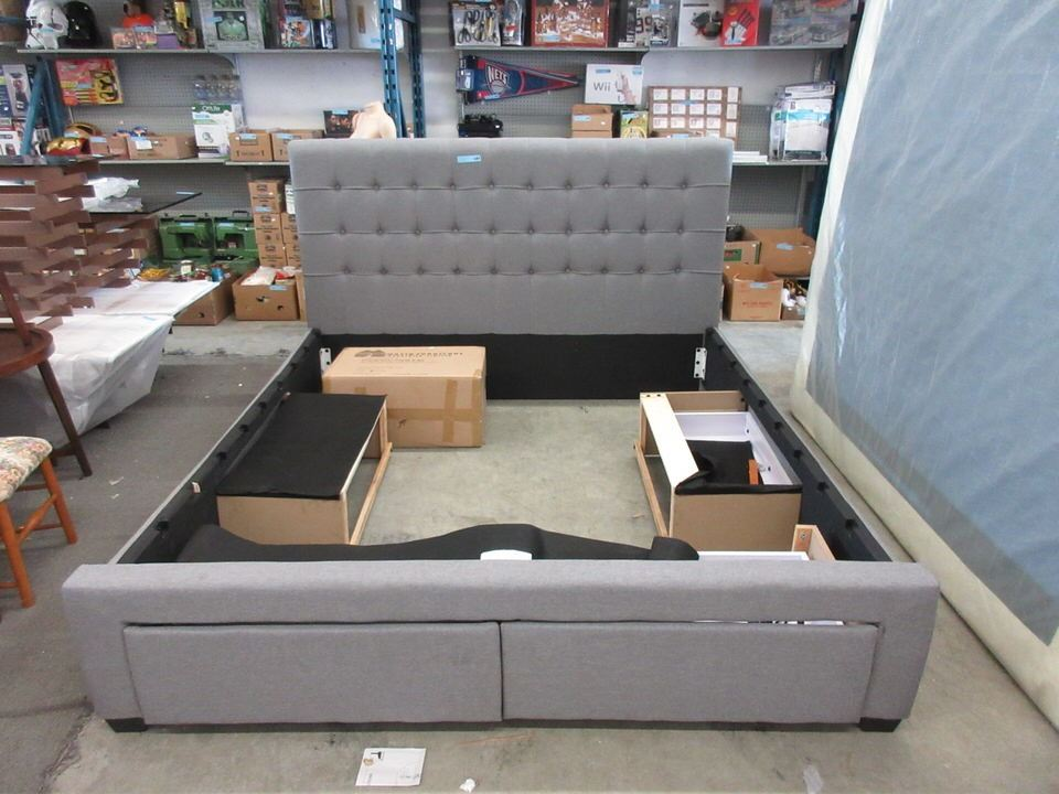 New King Size Upholstered Storage Bed