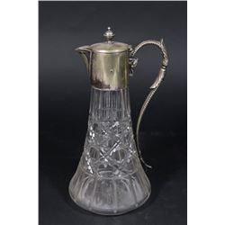 Cutglass Pitcher with Silverplated Top
