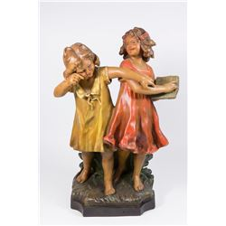 Terracotta Grouping of 2 Girls with Book