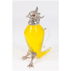 Yellow Glass Bird Decanter