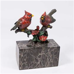 Patinated Bronze Birds on Marble Base