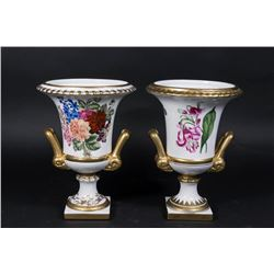 Pair Porcelain Floral-Decorated Urns
